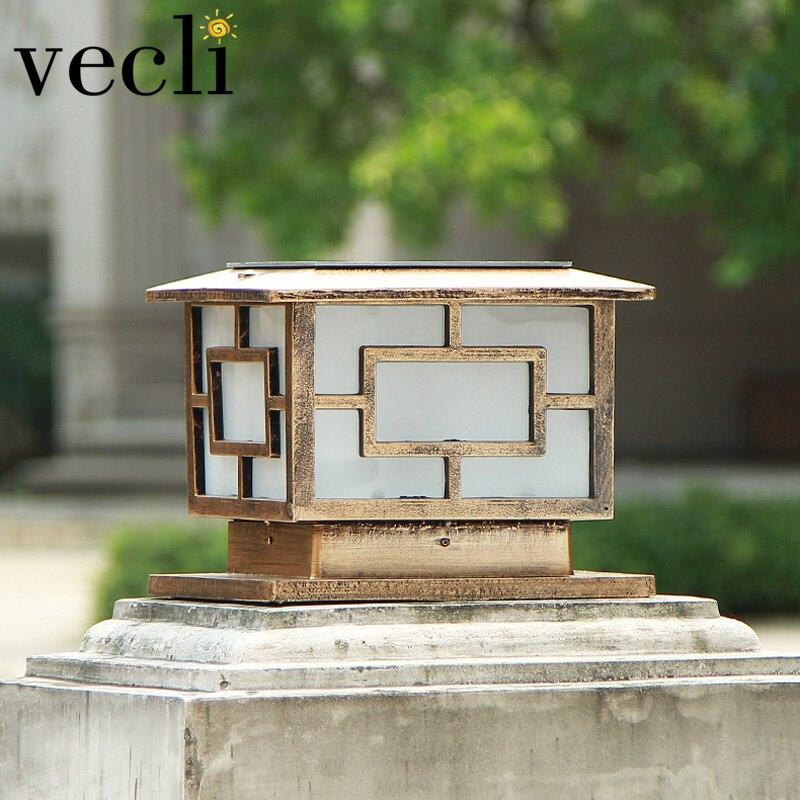Top-grade populaire solaire porte post lumière étanche rétro style colonne lampes extérieur villa jardin éclairage