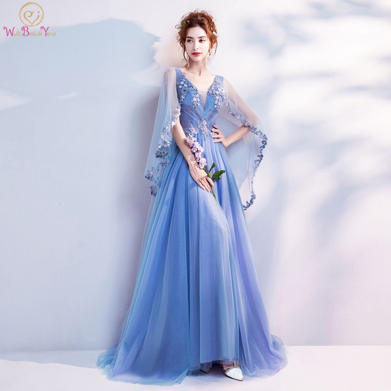 Walk Beside You Blue Evening Dresses With Wrap Tulle Lace Appliques Sequined A-line Sweep Train Prom Gowns 2020 Vestido De Gala