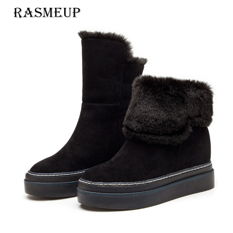 RASMEUP Genuine Suede Leather Women s Snow Boots Winter Women Height Increasing Flat Ankle Boots Woman