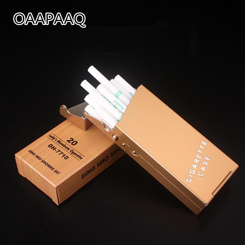 Lady Cigarette Case Aluminum Cigar Box Tobacco Holder For Women Metal Pocket Storage Container Slim Smoking Cigarette Accessorie-in Cigarette Accessories from Home & Garden