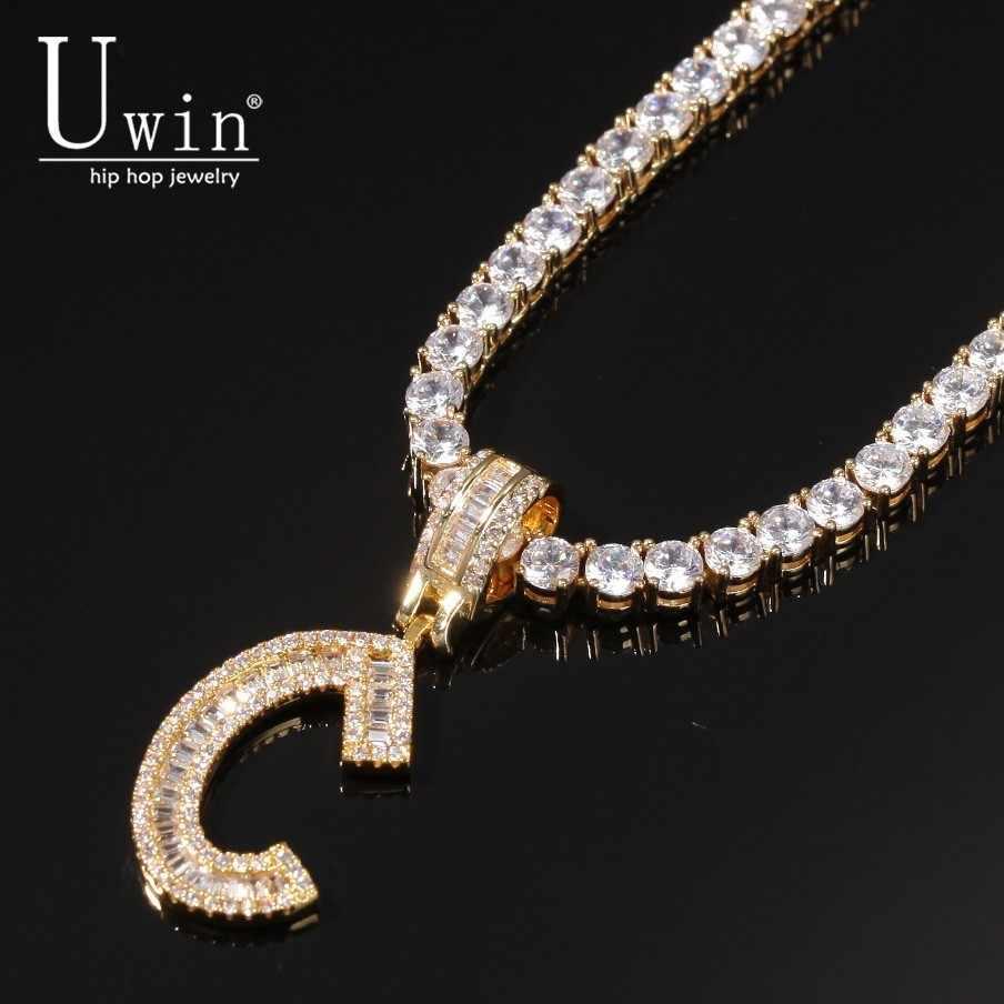 Uwin niestandardowe bagietki litery tenis łańcuch nazwa naszyjnik cyrkonia chain Bling Bling pełny mrożona z HipHop biżuteria męska prezent