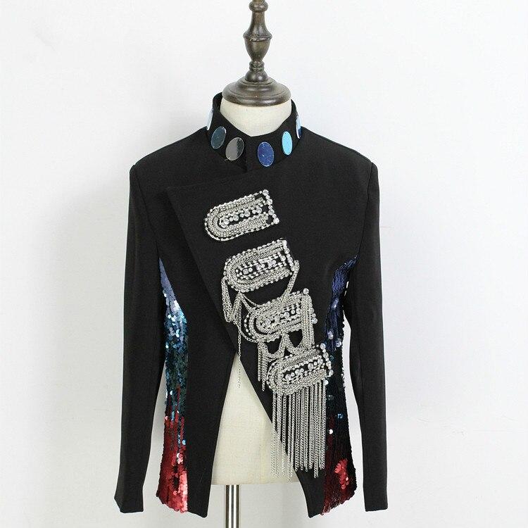 GemäßIgt S ~ 5xl New Herren Bekleidung Fashion Friseur Gd Abendshow Paillette Quasten Plus Größe Sänger Dj Kostüme Jacken & Mäntel