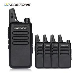4pcs/lot Zastone ZT-X6 Portable Walkie Talkie UHF 400-470mhz Ham Radio Handheld Mini Radio Comunicador Transceiver