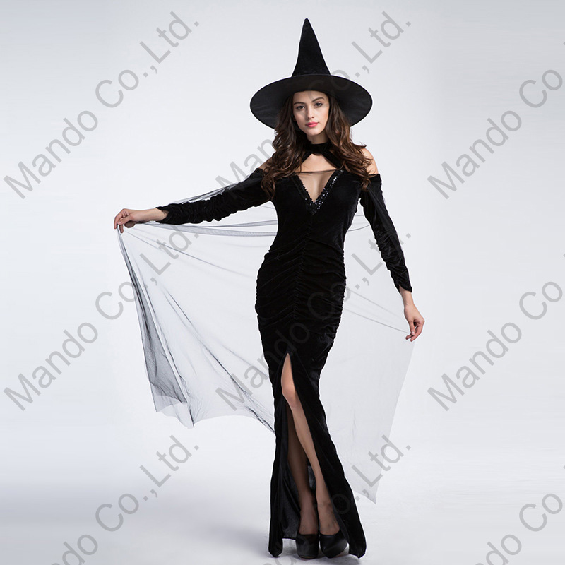 Elastic fabric 3pcs set Womens Cosplay Costume sexy black witch Fancy Silm Dress Halloween party Outfit