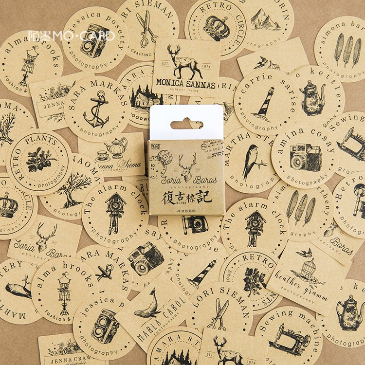 Memory Retro Old Thing Decorative Stickers Adhesive Stickers DIY Decoration Diary Stationery Stickers Children Gift