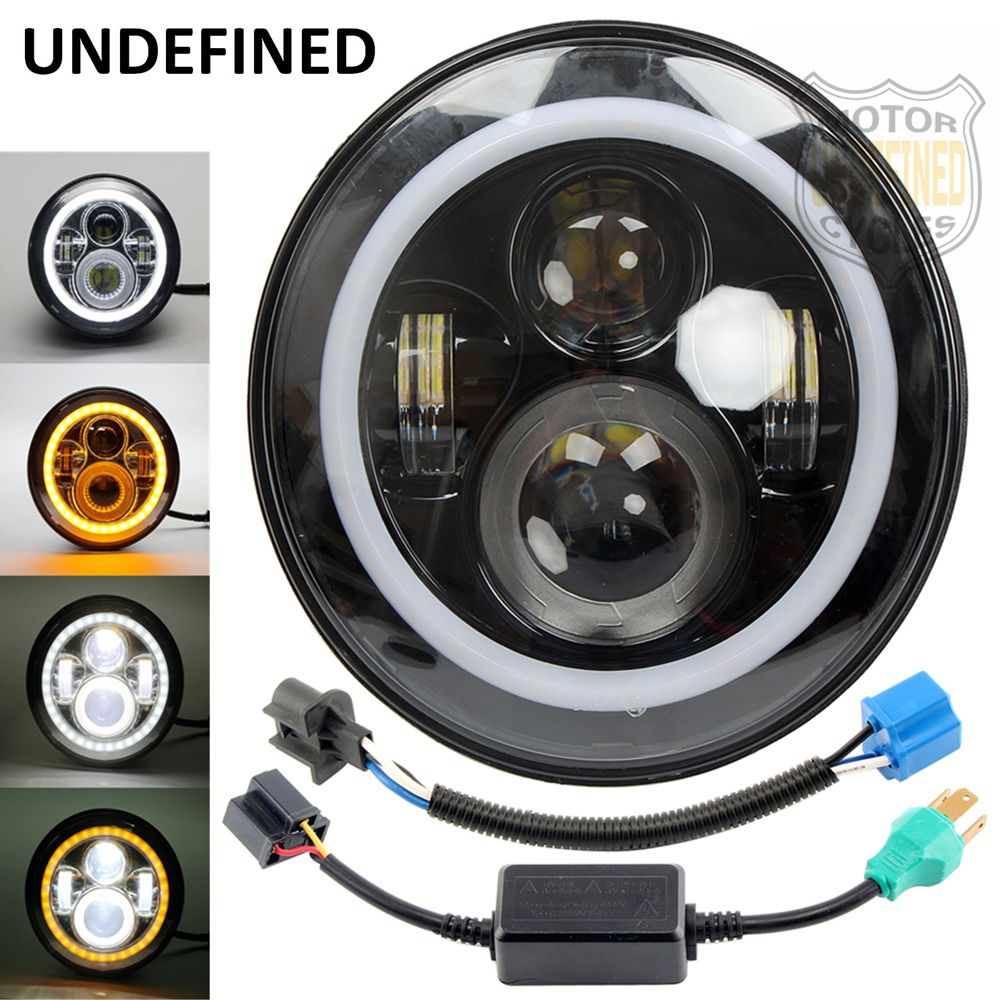 Motorcycle Accessorie Black Round LED Headlight With Halo Eyes Amber Projector Daymaker Headlight For Harley Touring UNDEFINED