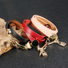 Handmade Woman Wrap Bracelets New Fashion Leather + Stainless Steel Lock Key Pendant
