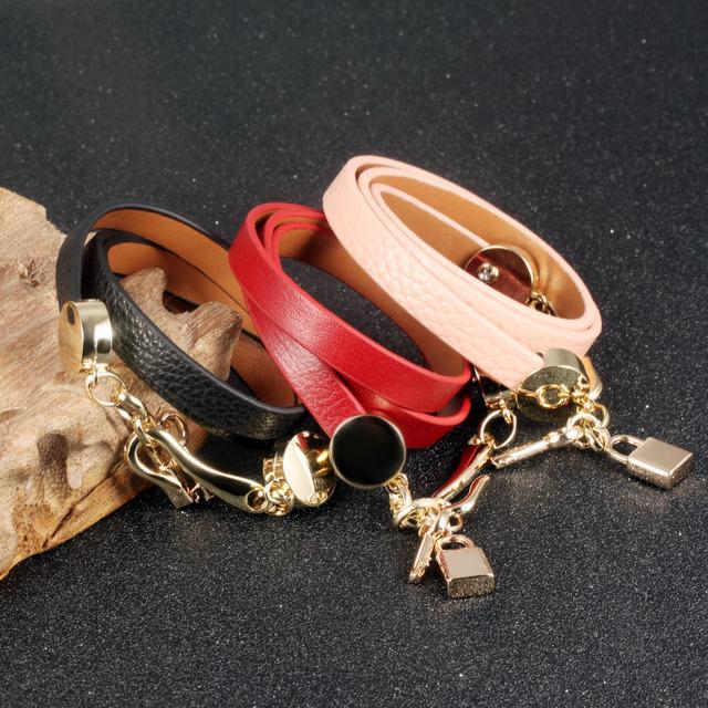 OPK Handmade Woman Wrap Bracelets New Fashion Leather + Stainless Steel Lock Key Pendant Women Jewelry Accessories PH1072