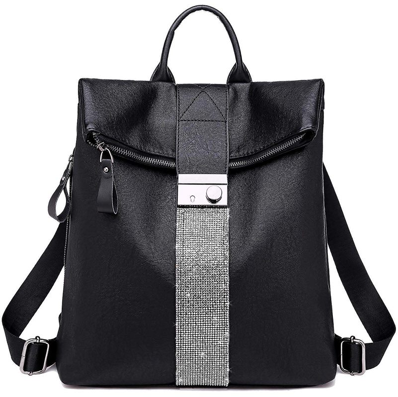 NEW-Backpack Purse For Women Fashion School PU Leather And Hangbags Shoulder Bags, 1-Black