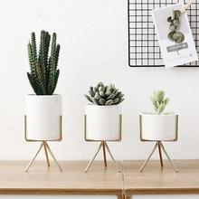 INS Ceramic Flower Planters with Iron Shelf Succulent Plant Pot Home Decorative Flower Vase without Hole
