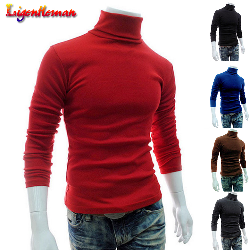 Men'S Sweater 2019 New Autumn Winter Men's Slim Fit Thin Brand Knitted Pullovers Men'S Turtleneck Solid Color Casual Sweater