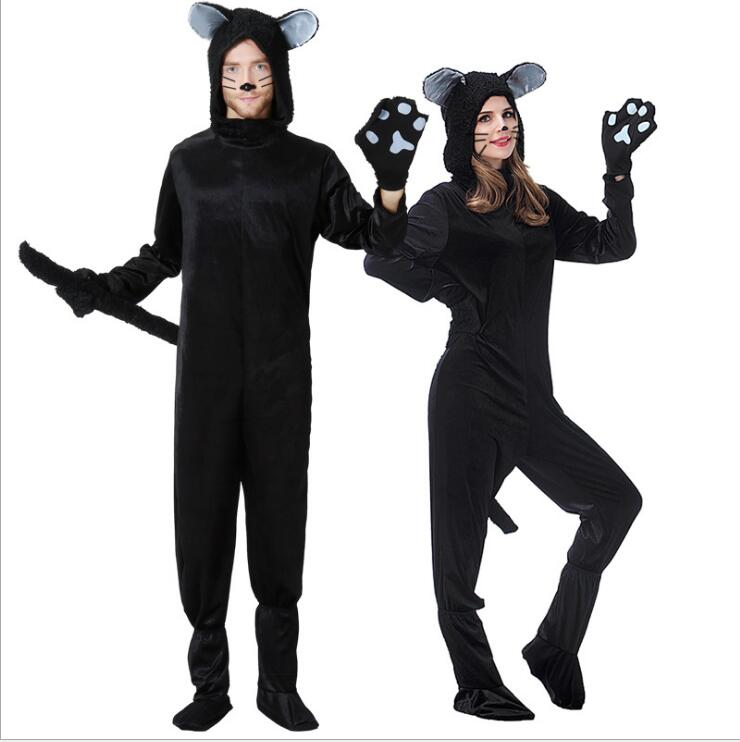 FreePP Couples Cat Suit Halloween Costumes Adult Women Men Black Cat Jumpsuit Animal Bear Cosplay Catsuit 2017 Plus Size Costume image
