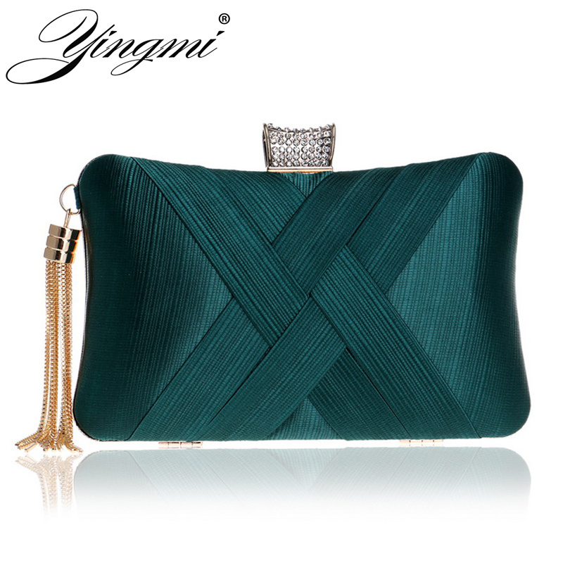 YINGMI New Women Fashion Bag Rhinestones Lady Day Clutch Evening Bag Small Tassel Metal Chain Shoulder Handbags For Party Purse