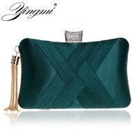 Yingmi Новый Для женщин мешок Стразы леди день сцепления вечерняя сумочка; BS010 небольшой кисточкой металлическая цепь плечо Сумки для вечерние...