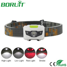 BORUiT Mini XPE LED Headlamp Flashlight 4 Modes Portable Tactical Torch Light Camping Hunting Headlight Cycling Head Lamp
