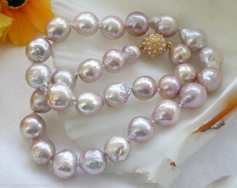 FREE SHIPPING>@@> Hot sale new Style >>>>>Unusual Real Natural 10-11mm Purple Baroque Freshwater Pearl Necklace 18 цена и фото