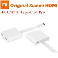 "Cabo adaptador xiaomi usb tipo c para hdmi, original, 4k, 3d, 5gbps, usb 3.0, tipo c, mi notebook air 12.5 13.3 ""para macbook/chrombook"