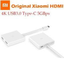 "Oryginalne xiaomi USB typu C do kabel adapter hdmi 4K 3D 5 gb/s USB 3.0 typu C mi notebook air 12.5 13.3 ""dla Macbook/Chrombook"