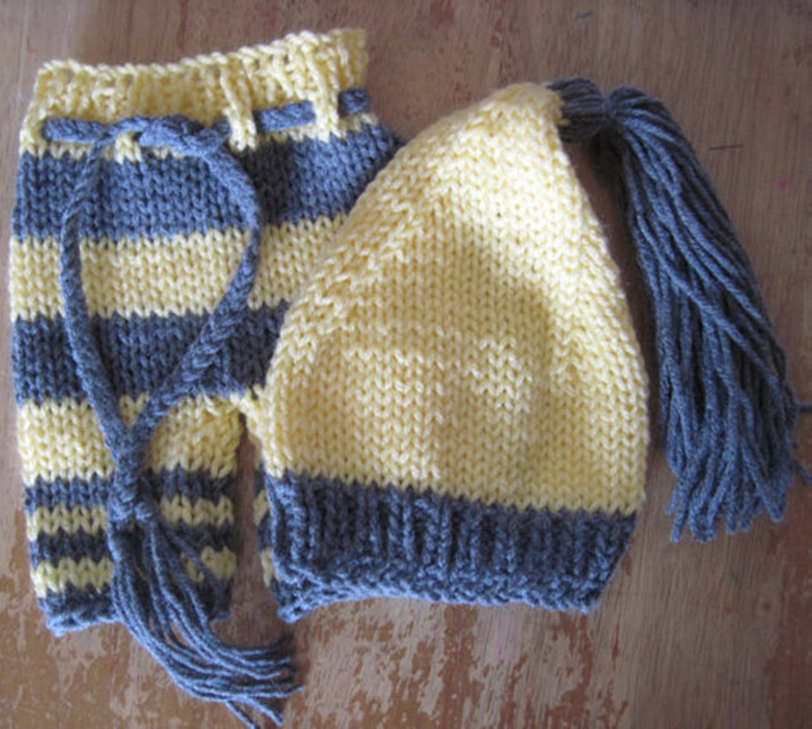 Manual knitting sweater baby yellow and gray collocation of clothes1