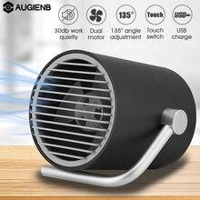 Augienb 5 лезвий 2 скорости сенсорный выключатель с двумя Turbo Mute тихий Портативный личные настольные вентиляторы матовая черный, белый цвет USB стол вентилятор