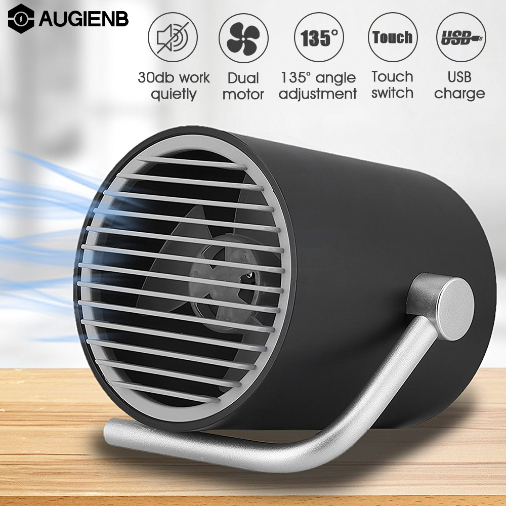 Augienb 5 Blades 2 Speeds Touch Switch with Twin Turbo Mute Portable Small Air Condition Personal Fans Matte USB Desk Fan