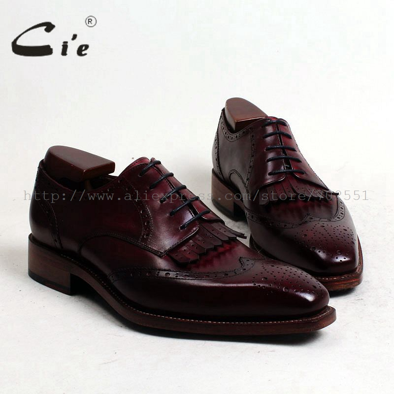 cie Square Toe Tassels Bespoke Custom Handmade Goodyear Welted 100%Genuine Calf Leather Men's Shoe Derby Business Deep Wine D142 cie calf leather bespoke handmade men s square toe derby leather goodyear welt craft mark line shoe color deep flat blue no d98
