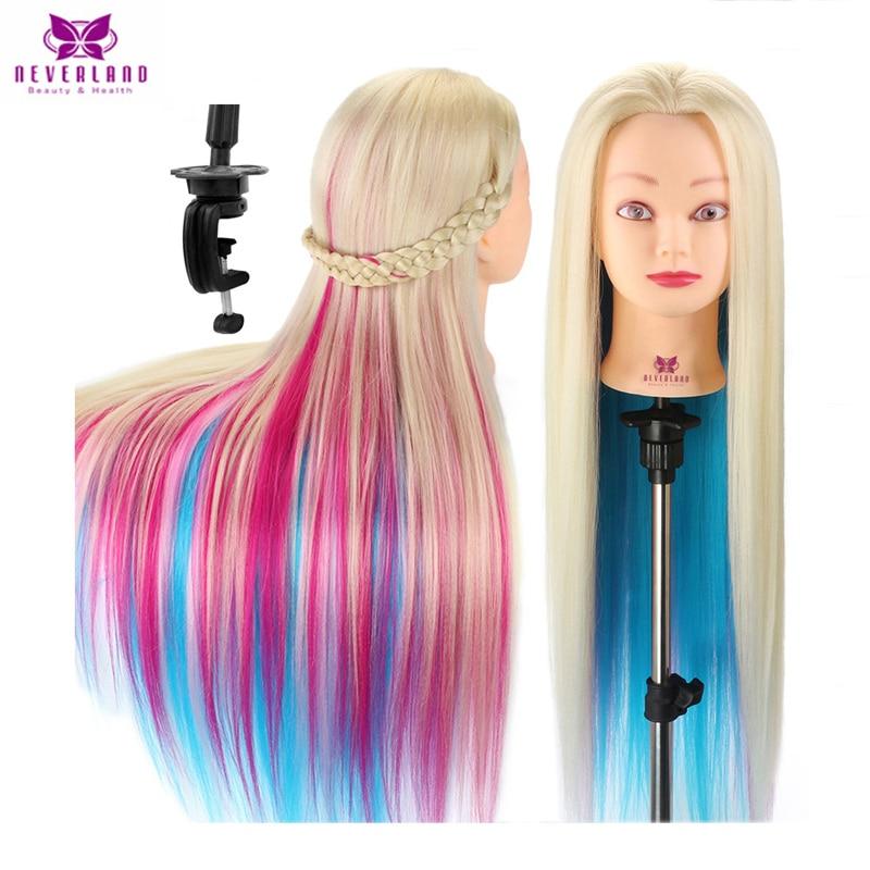 NEVERLAND 70CM de largo pelo grueso peluquería muñeca maniquí cabeza para peinados coloridos Rosa trenzado cabeza de entrenamiento maniquí + regalo
