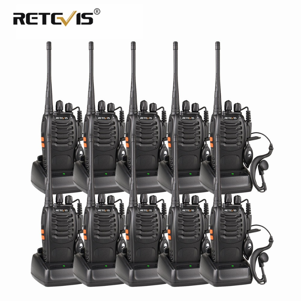 10pcs Portable Two Way Radio Walkie Talkie Retevis H777 Hotel / Restoran Radio 3W UHF Flashlight USB Charging Talkie Walkie Set