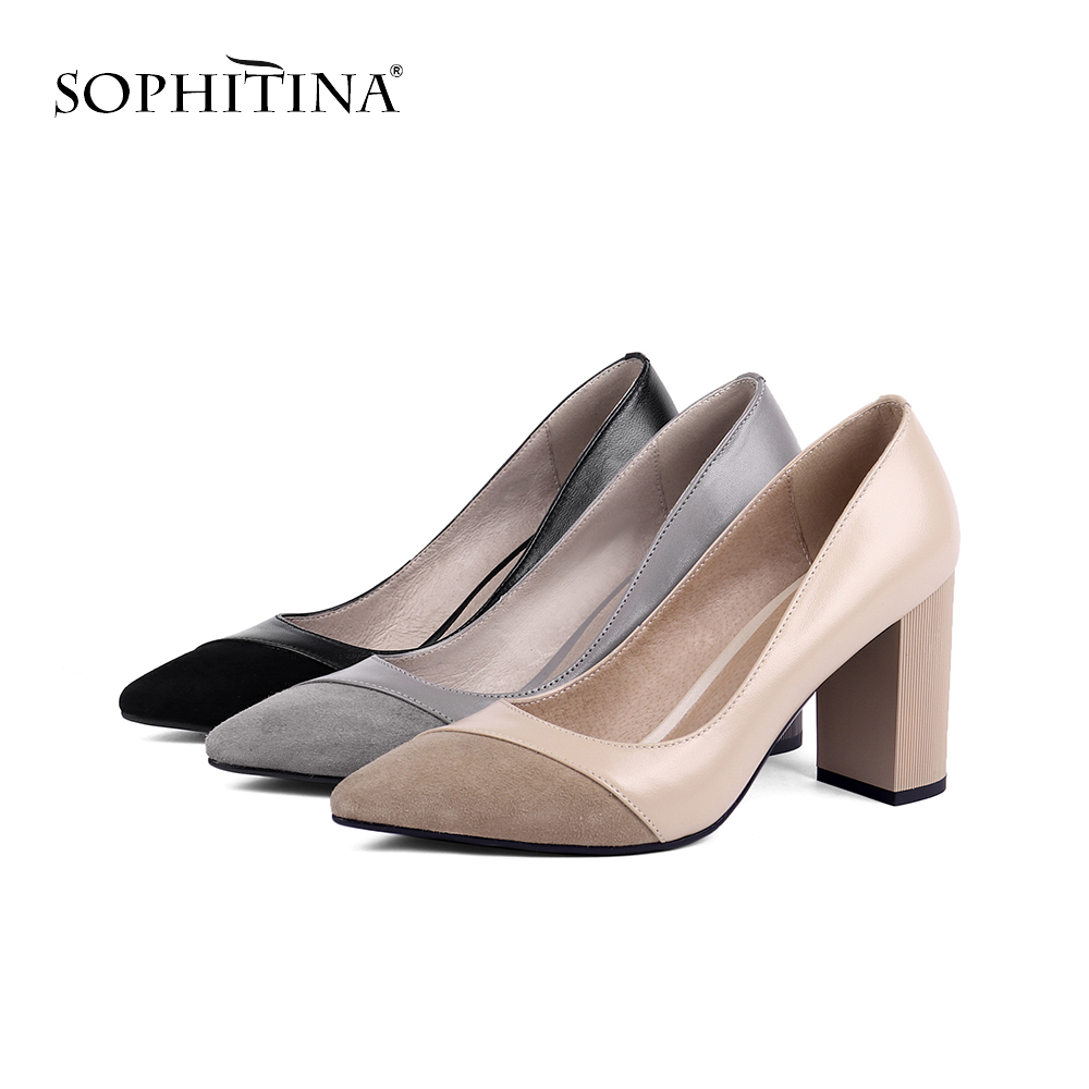 SOPHITINA Casual Sexy Pumps Suede Casual Mature Square Heel Genuine Leather Round Toe Shallow Shoes Shallow Women's Pumps PC141