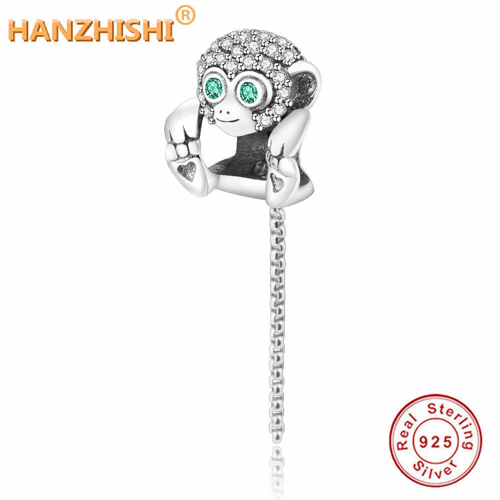 Fit Original Pandora Charm Bracelet Authentic 925 Sterling Silver Bead Sparkling Monkey Charm Chain DIY Jewelry For Women Gift