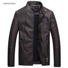 Varsanol повседневные кожаные куртки мужской с длинным рукавом зимние толстые карманные мужские из искусственной кожи Куртка-бомбер верхняя одежда Лидер продаж молния Марка Clothing2017