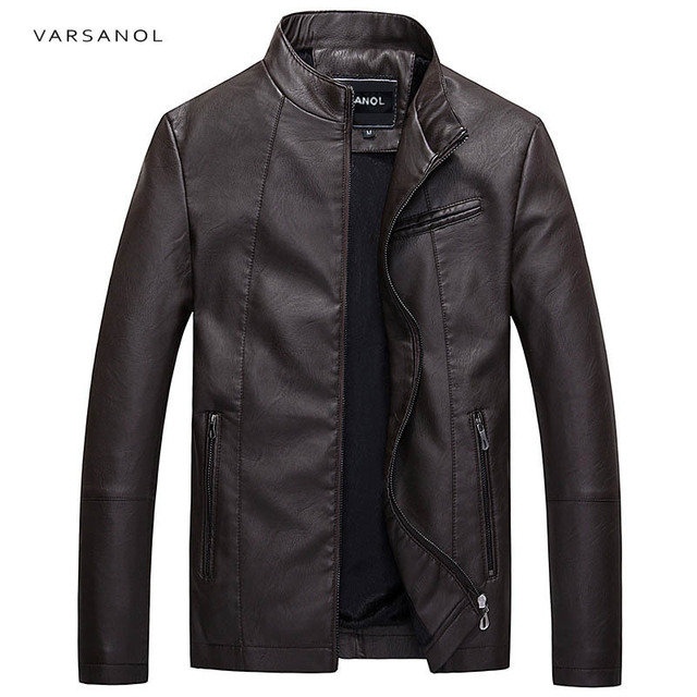Varsanol Causal Leather Jackets Male Long Sleeve Winter Thick Pocket Mens PU Bomber Outerwear Hot Sale Zipper Brand Clothing2017