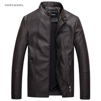Varsanol Causal Leather Jackets Male Long Sleeve Winter Thick Pocket Mens PU Bomber Outerwear Hot Sale