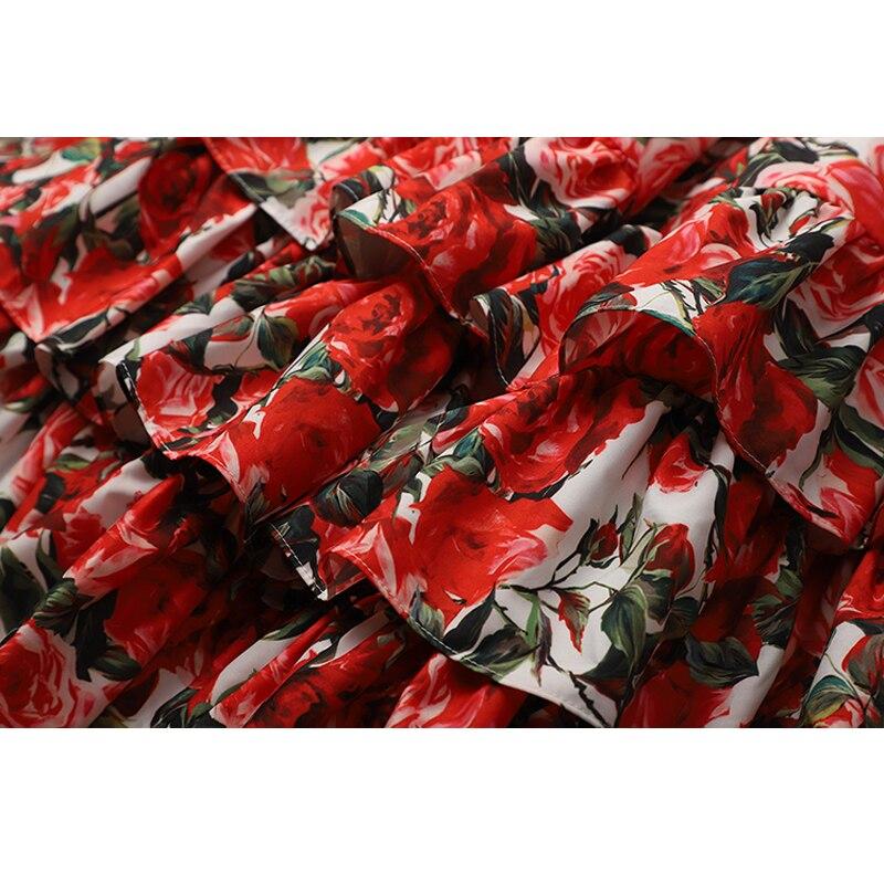 Limitée Imprimer Lotus Feuille sen 2018 Coton A Nouveau Plage ligne Harnais Vadim Impression Robe Rouge Super Femelle Style Couche Rétro Eq4w5W5aZg