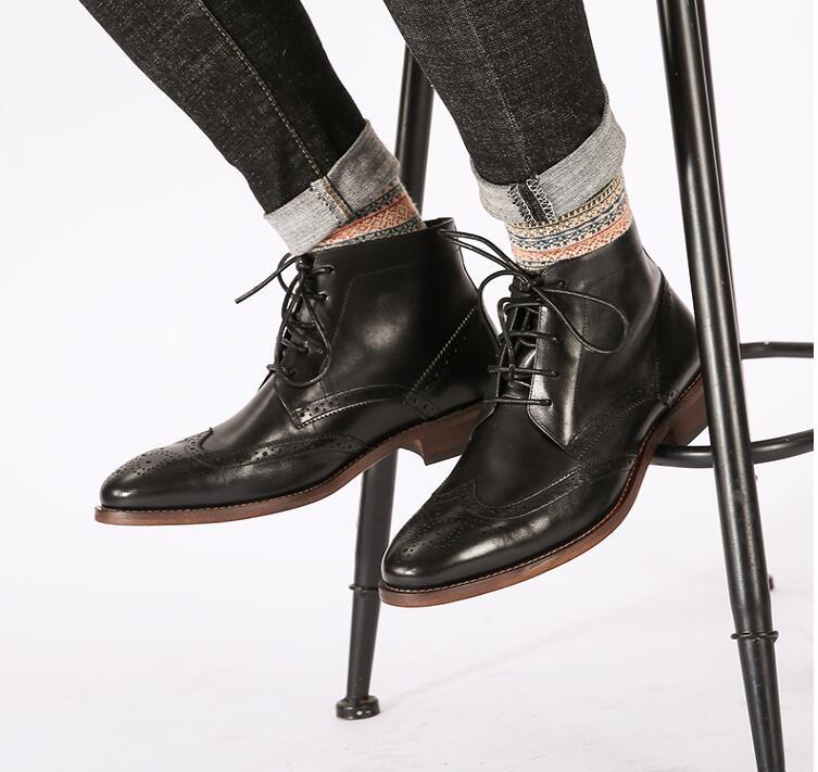 Haute En Top Véritable Noir À Cuir Hommes Formelle Mâle marron Casual Cheville Lacets Chaussures Vintage De Martin Bottes D'affaires Sculpté wZulPkXOiT