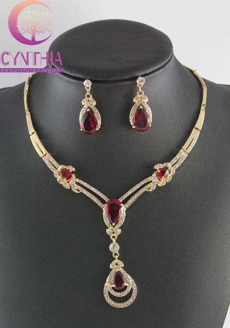 HOT RED Zircon GEM YELLOW GOLD CRYSTAL NECKLACE EARRING Wedding