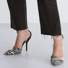 transparent Thin Heels Zebra pattern sandal  2019 New pointed toe Women shoes italian ladies sandals closed clear 10