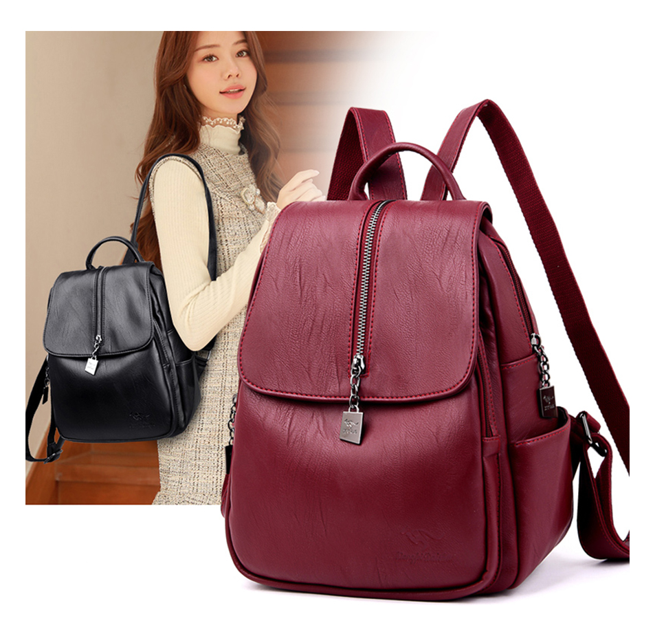 Youth Leather Backpacks For Teenage Girls Female School Shoulder Bags Women Leisure Backpacks