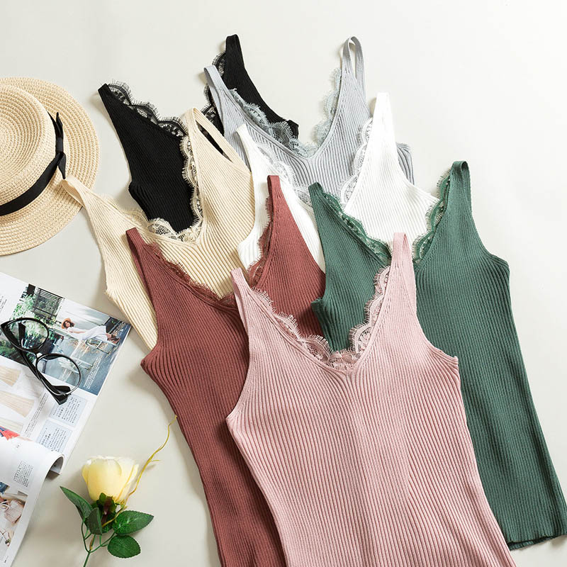 Lace Camisole Vest Slim-Sling Plain Double-V-Neck Sexy Women Solid-Colors Splicing