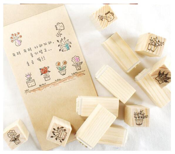 12Pcs/set New Flower Pattern DIY Wooden Rubber Stamp Set Crafts Handmade Photo Album Clear Stamps