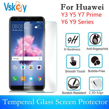 VSKEY 10pcs 2.5D Tempered Glass For Huawei Y9 Y3 Y5 Y6 Y7 Prime 2018 2019 Series Screen Protector 2017 Protective Film