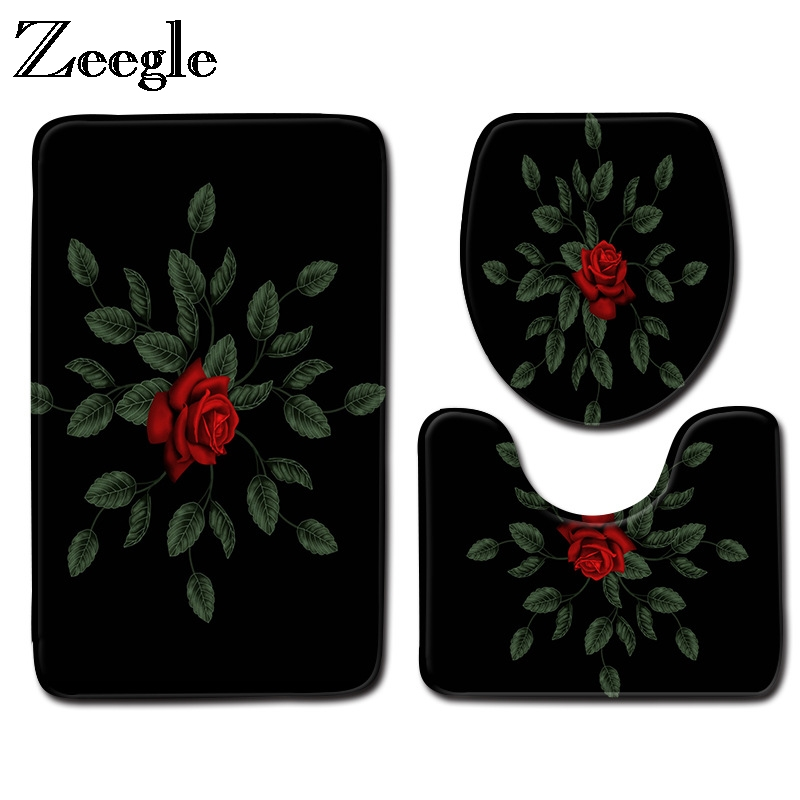 Zeegle 3D Flower Pattern Bath Mat 3Pcs Bathroom Carpet Non slip Bathroom Floor Mat Bath Rugs Absorbent Cover Toilet Bathroom Mat|Bath Mats|Home & Garden - title=