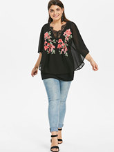 Summer Chiffon Plus Size Black Embroiderd Blouse for Women