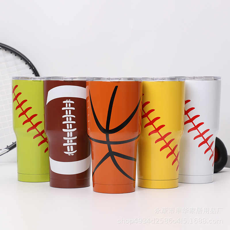 VA STUDIO Sport Balls Style 20/30oz Car Thermos Mug Vacuum Flasks Insulated Thermo Drink Bottle Cold or Hot Beer Coffee Cup