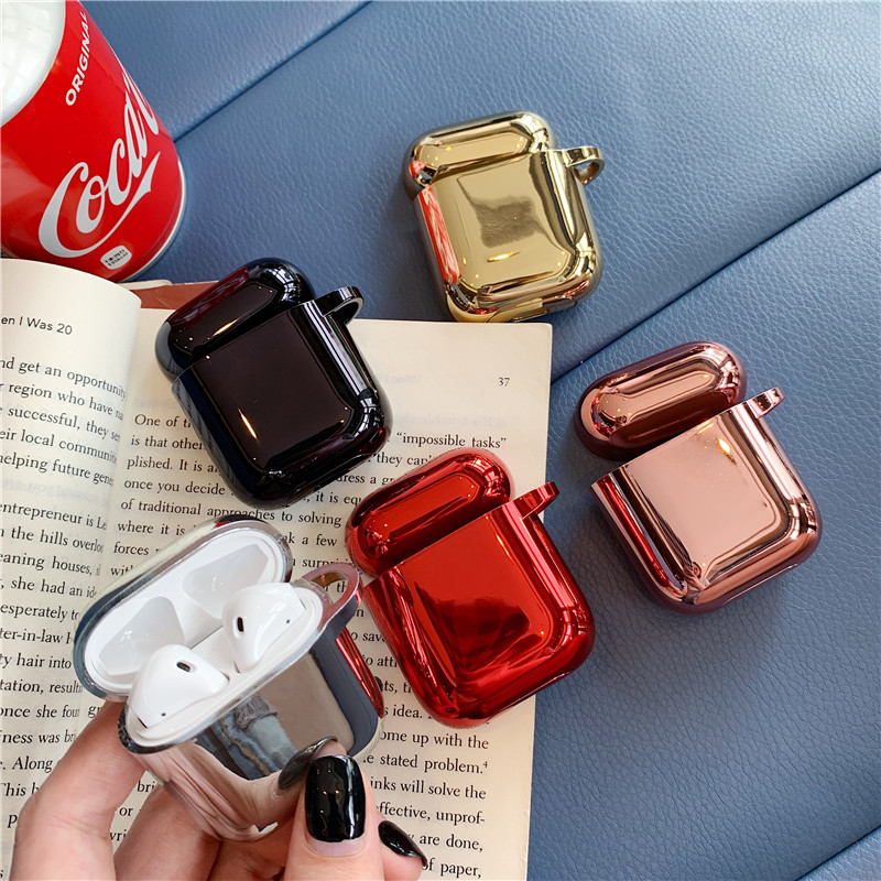 Fashion Plating Headphone Case Box For Apple Airpods Case Silicone Bluetooth Earphone Cover For Air Pods Accessories Bling Cases