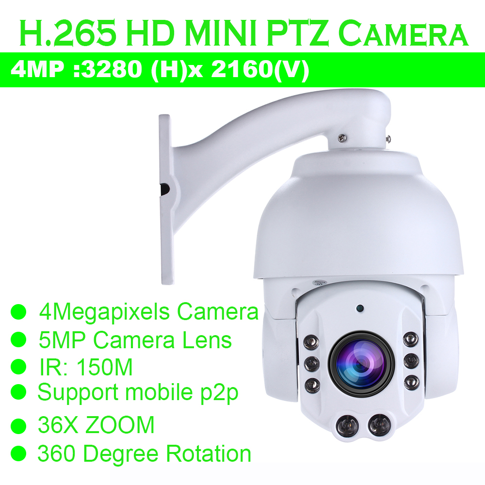 Free Shipping 4MP PTZ Camera support 36x optical zoom IR Distance up to 200m H.265 PTZ H.265 Network IR PTZ Dome Camera цена