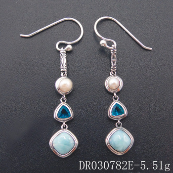 Fine Jewelry Natural Handmade Larimar Earrings4