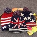 Autumn winter High quality fashion M word flag stars stripes  knitted hat ms.man warm ball wool hat outdoor sports warm cap