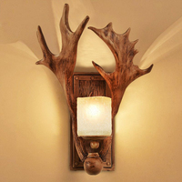 Antique Antler light Art Deco Carving LED nordic wooden wall light Attic Stairwell Hotel Cafe Hallway wall lights