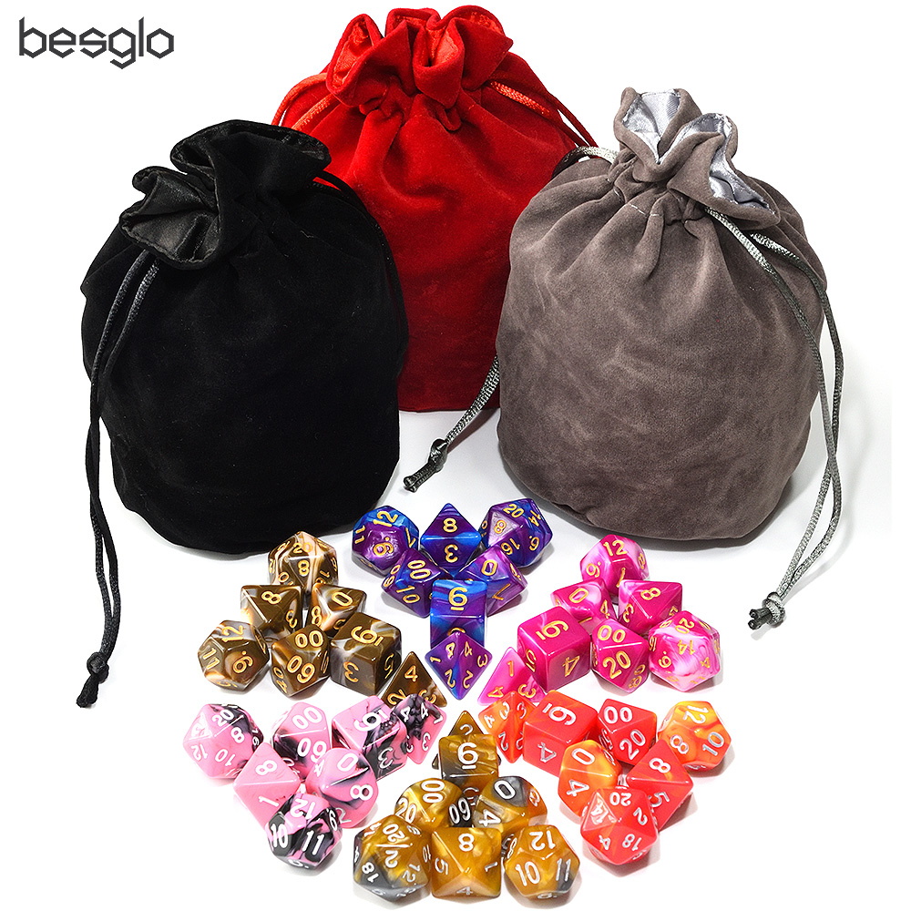 42pcs Polyhedral Dice with 1pcs Big Double layer Satin Velvet Pouch for DnD RPG Board Games